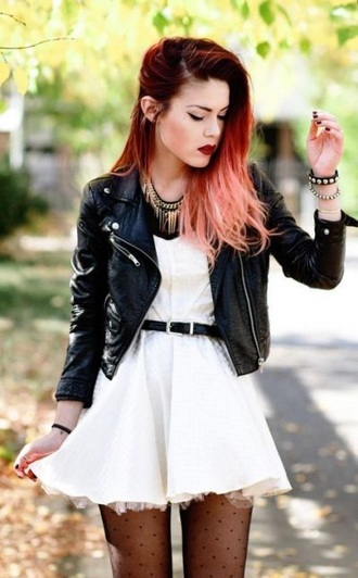 dress white belted dress chic and edgy jacket le happy ombre hair black leather jacket white dress little white dress luanna perez leather jacket