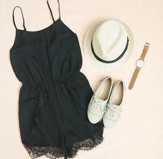 romper lace black shoes