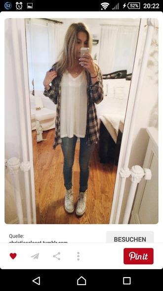 pants v neck white shirt t-shirt denim jeans checked shirt white converse