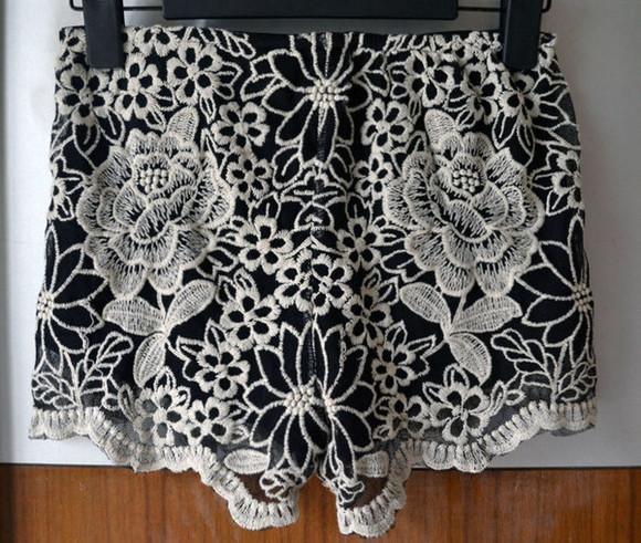 rose cute crochet vintage floral lace black shorts grunge white fashion
