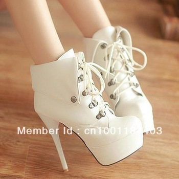 sexy platform heels lace women ankle boots red sole black white-in ...