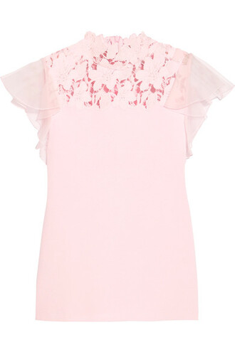 top baby lace silk pink baby pink