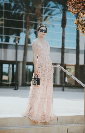 hallie daily blogger dress bag sunglasses jewels nude dress lace dress maxi dress mini bag black sunglasses summer outfits