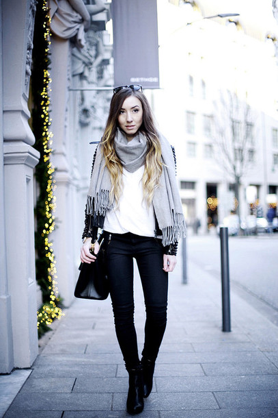 flirting with fashion blogger jacket shirt jeans shoes scarf bag jewels