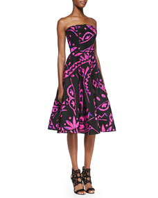 Strapless Geo-Print Flare Dress