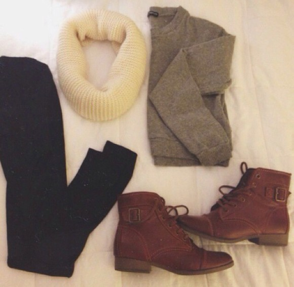 scarf sweater boots brown leather boots grey sweatshirt white sweater/sweatshirt crewneck black jeans cream