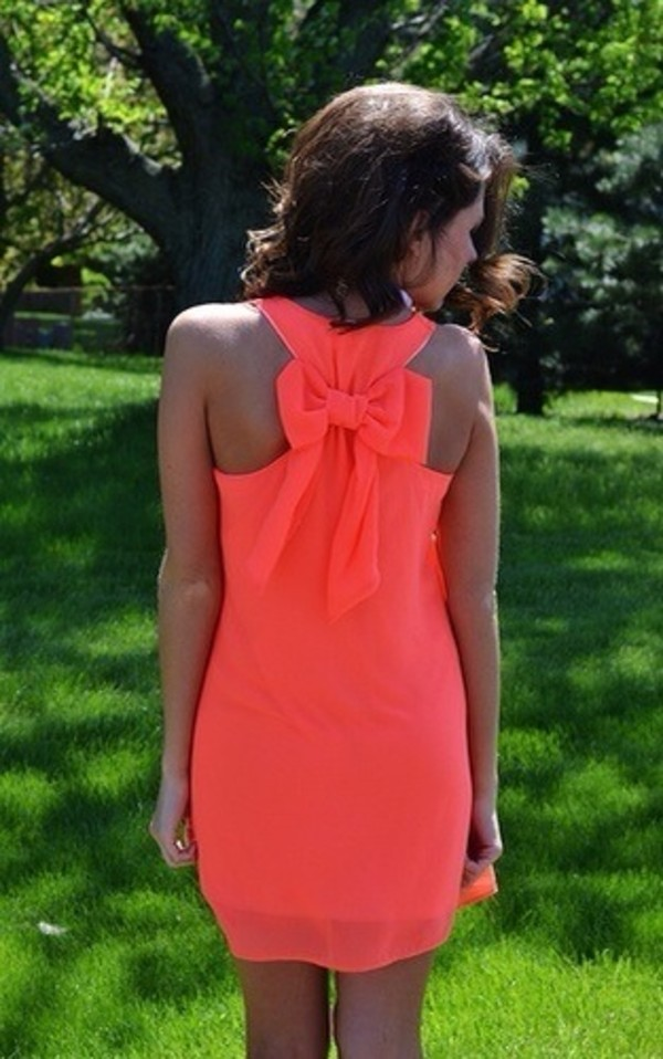 dress coral dress coral bow bow dress shift dress graduation dress summer spring simple dress