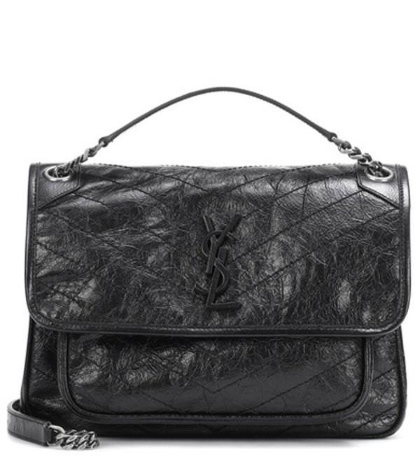 Saint Laurent Medium Niki Monogram leather shoulder bag in black