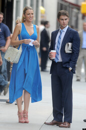 dress,blake lively,pastel blue dress,bag,low cut