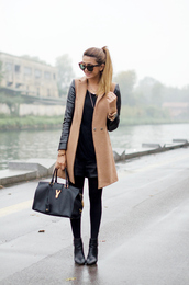 scent of obsession,coat,t-shirt,shorts,bag,sunglasses,jewels,streetwear,leather shorts,light caramel brown color,black leather sleeves,long,thick and warm and cozy,brown,black,leather,brown sunglasses,cat eye,gold watch,black leggings,black tote,celine bag,camel coat,leather sleeves,black top,black ankle boots,ankle boots