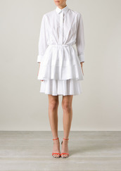 dress,azzedine alaïa white plumetis-cotton shirt-dress