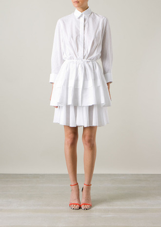 dress azzedine alaïa white plumetis-cotton shirt-dress