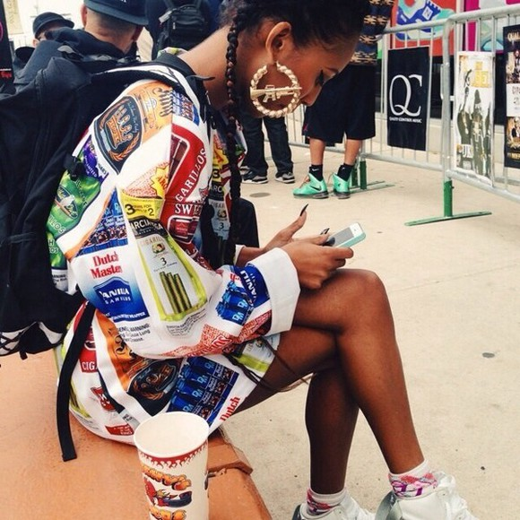 colorful style colourful jacket colours streetstyle street bomber jacket style scrapbook sweater jewels