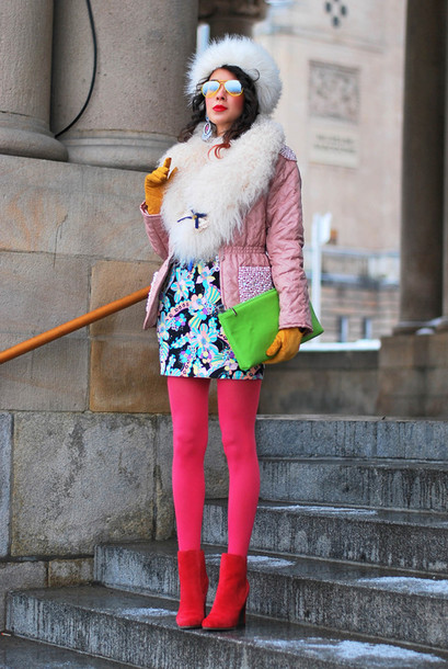 macademian girl jacket dress shoes bag hat sunglasses jewels belt white fur hat fur hat white hat pink coat mini dress floral floral dress tights opaque tights colorful multicolor red boots high heels boots boots