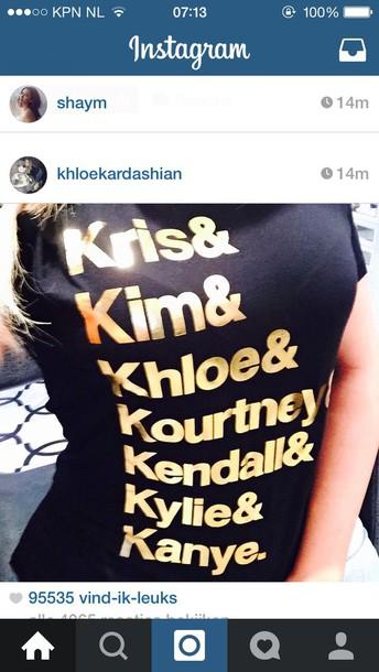 t-shirt kardashians black t-shirt graphic tee gold