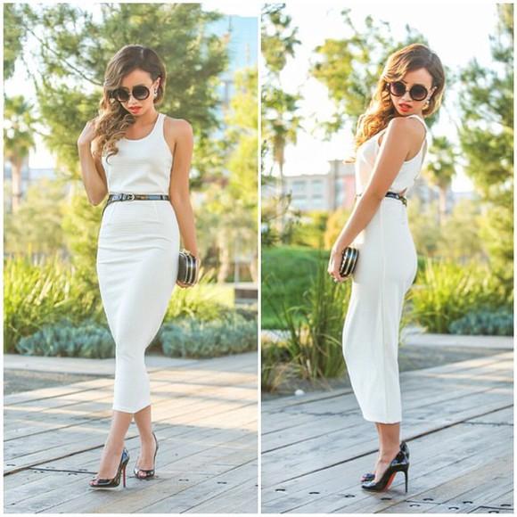 black shoes white dress sunglasses