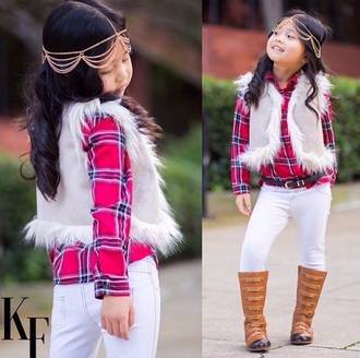 hair accessory white vest fur fur vest plaid shirt flannel shirt white jeans boots fall fall fashion fall outfits hair jewelry hair chain style fashion kids fashion