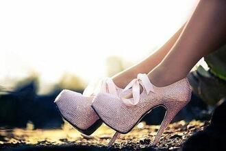 ribbon shoes high heels