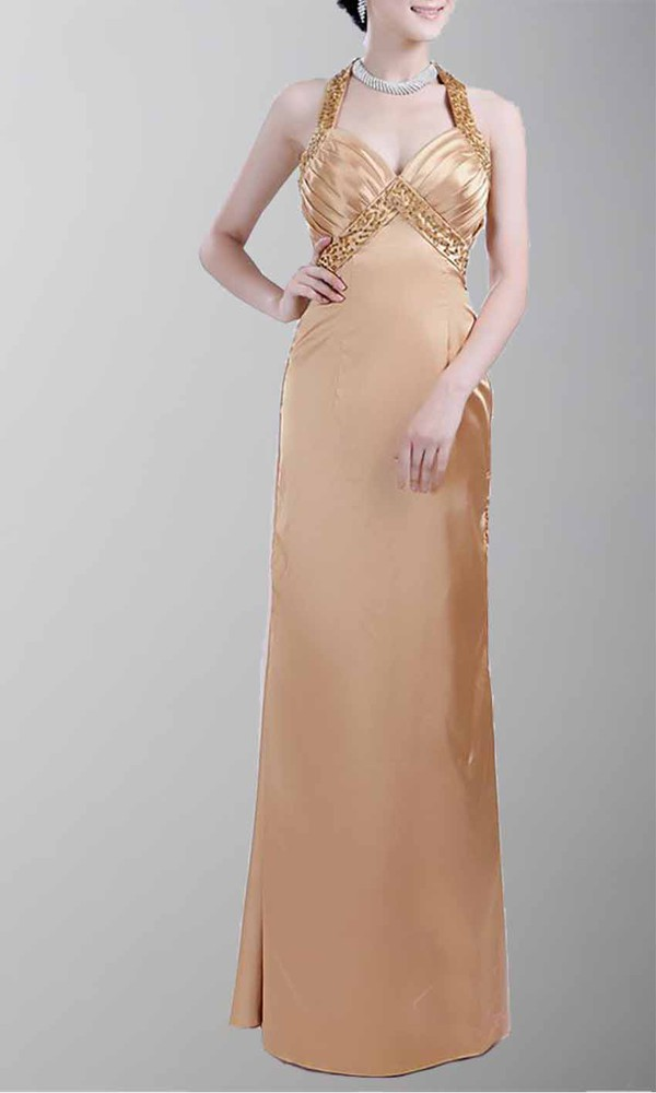 gold dress halter neck top long prom dress empire waist dress sheath/column satin dress