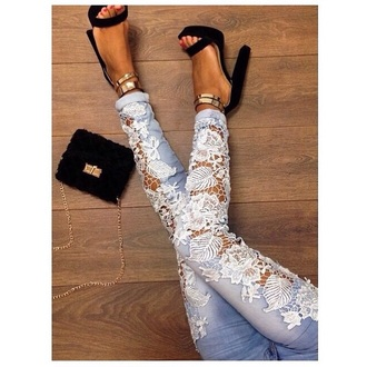 jeans lace denim blue white classy chic wonens fashion