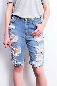 Jeans Women High Waist Rise Distressed Ripped Knee Denim Bermuda ...