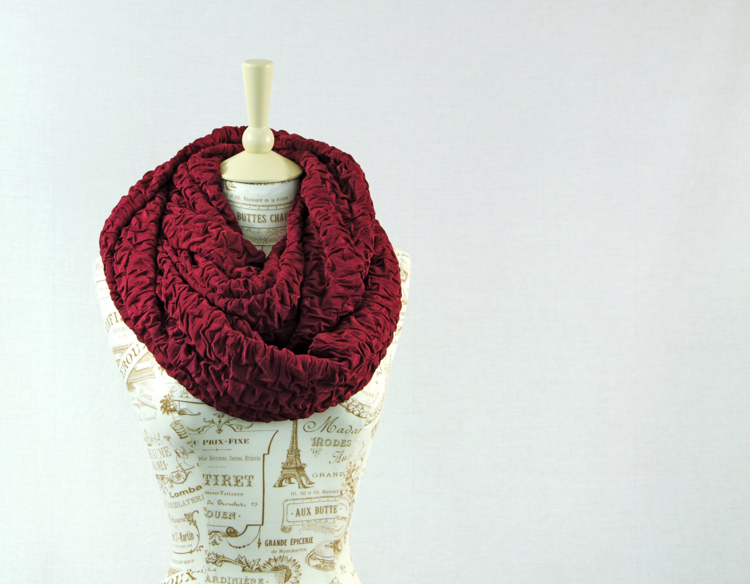 Burgundy Infinity Scarf Ruffle Ruched Chunky Wine Maroon Ruched Women Fashion