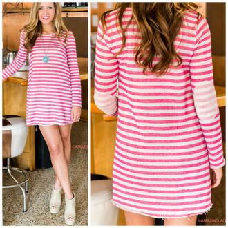 dress tunic fuschia stripes elbow patch amazinglace