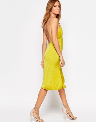 dress yellow slip dress slip dress yellow dress summer dress summer outfits cocktail dress party dress sexy dress sandals nude sandals sandal heels