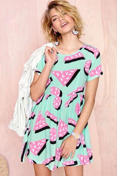 nastygal style fashion chic dress dresses skater dress watermelon print shapes clothes urban clothing