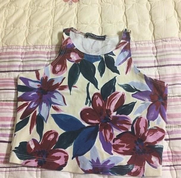 shirt floral summer cute crop tops sleeveless clothes