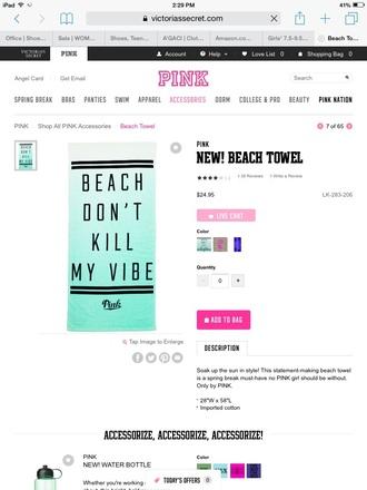 home accessory towel beach towel beach pink by victorias secret