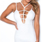 Plunge strappy bandage dress white