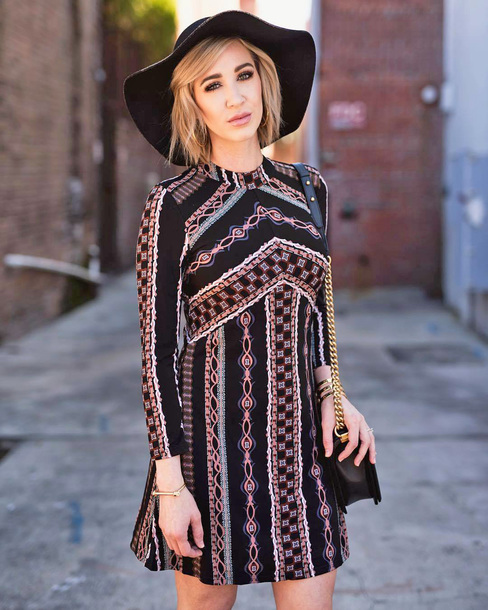 dress tumblr mini dress long sleeves long sleeve dress fall dress fall outfits felt hat