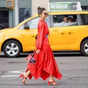 dress,red dress,asymmetrical dress,long sleeve dress,mules,handbag,belt,sunglasses