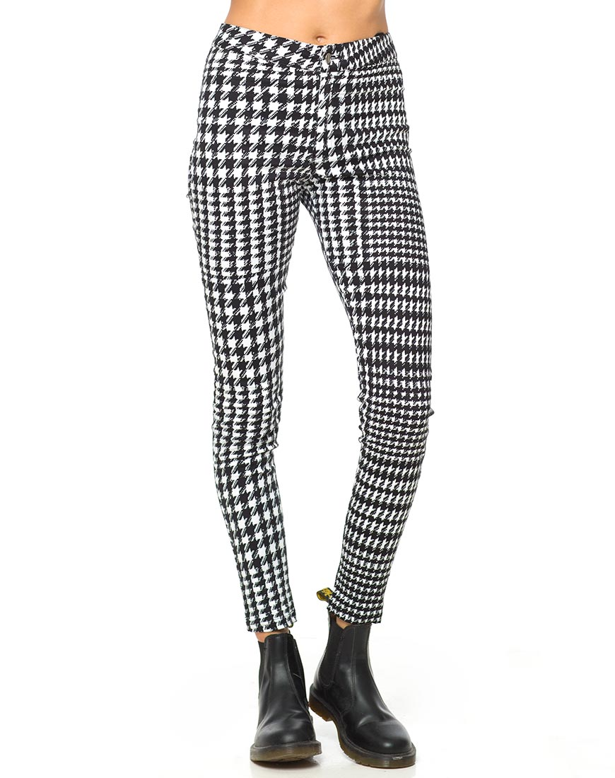 Motel Galaxy High Waisted Trouser in Hounds Tooth Black and White
