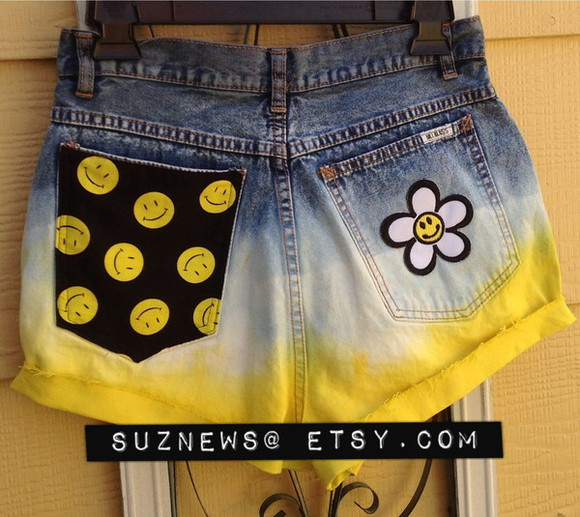 smiley face yellow shorts happy face high waisted short dip dyed festival style daisy ombre