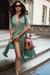 dress,miranda kerr,mint,mint dress,day dress,side split,high split,plunge v neck,maxi dress,wrap dress,sunglasses