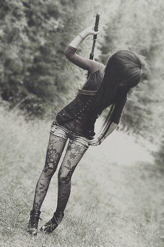 jacket waitcoat model fantasy shirt corset top floral tights combat boots full corset top pants clothes jeans tights blouse
