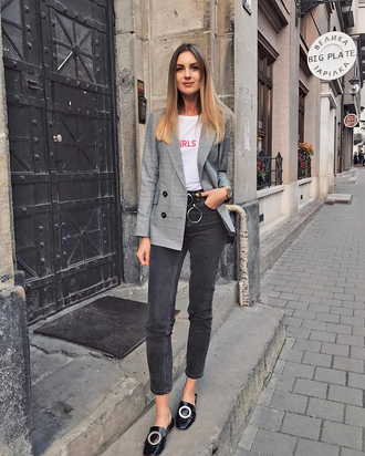 jacket tumblr blazer grey blazer t-shirt white t-shirt denim jeans black jeans shoes mules