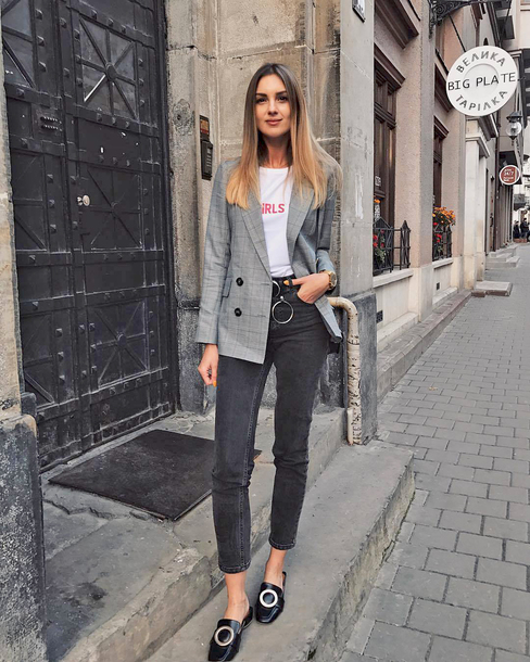 Jacket Tumblr Blazer Grey Blazer T Shirt White T Shirt Denim