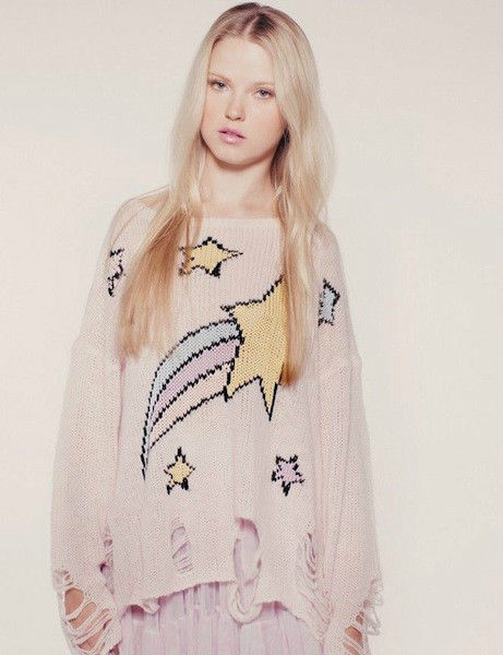 WILDFOX Couture Shooting Star Lennon Sweater Pink Lipstick Size XS | eBay
