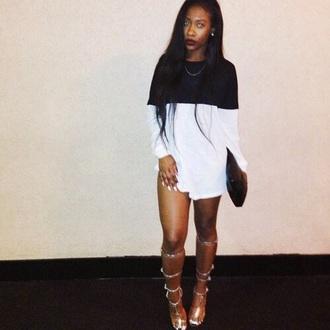 dress black white long sleeves colorblock black and white dress mini dress