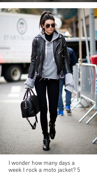 sweater kendall jenner shoes grey sweater grey chill jacket grey hoodie queen of jet lags blogger romper leather leather jacket women black coat hoodie black jacket