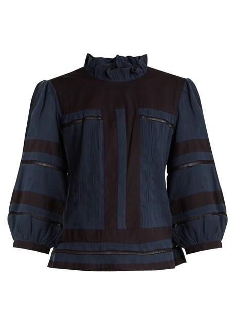 Isabel Marant etoile blouse cotton navy black top