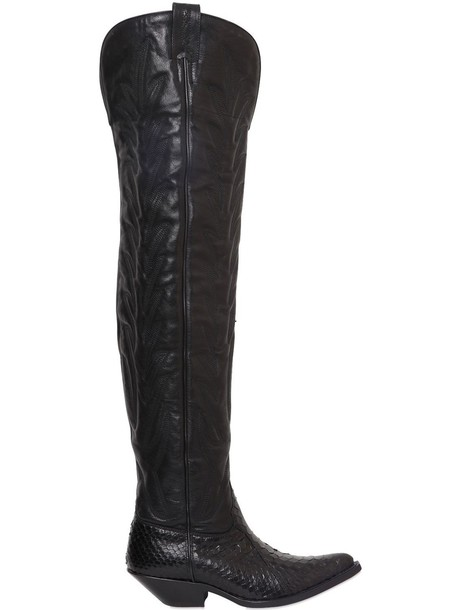 a41751f1ee09c SONORA 40mm Python & Leather Tall Cowboy Boots in black - Wheretoget