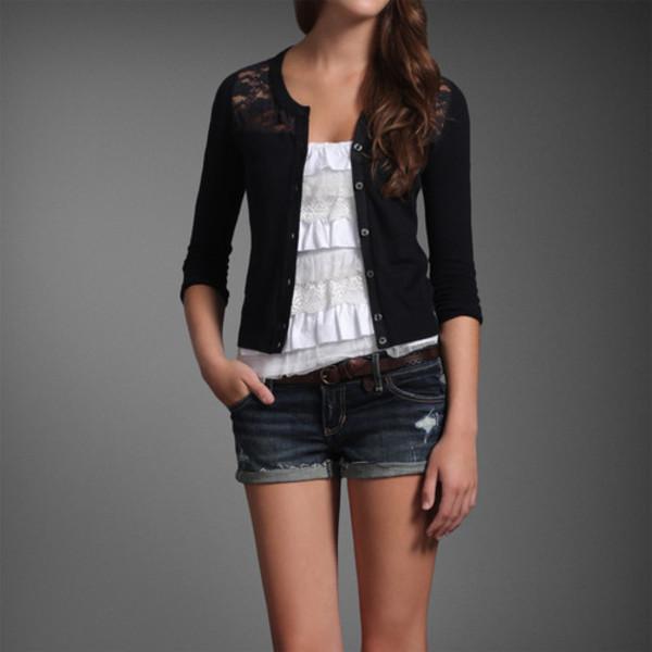Sweater: dentelle, cardigan, gilet, manches trois quart - Wheretoget