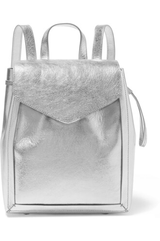 metallic backpack leather backpack leather silver bag
