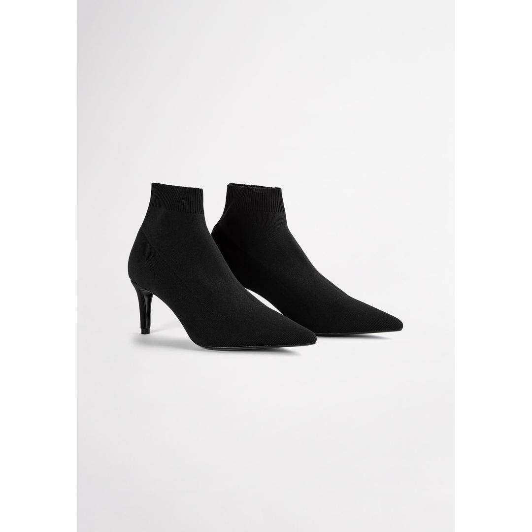 Gwen Black Sock Knit Ankle Boots