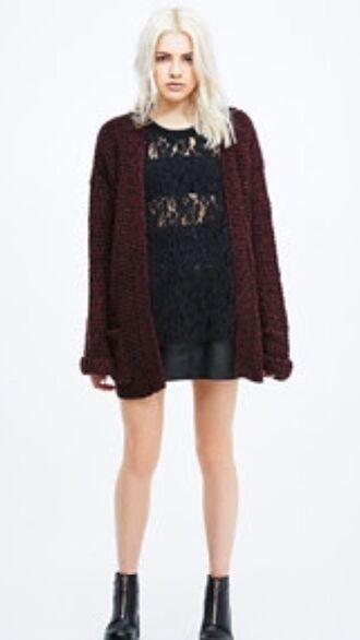 cardigan grunge style hipster burgundy burgundy sweater