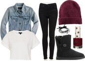 pants,denim jacket,ugg boots,beanie,crop tops,sweater,hat,shoes